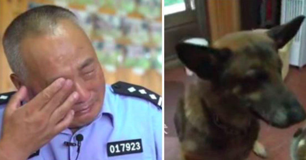 Cop cries when he sees how former service dogs are treated, refuses to stand by and do nothing